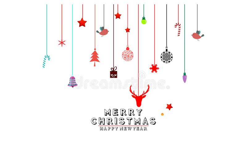 Diverse hangende Kerstmisornamenten zoals Kerstmissnuisterij en Kerstboom op witte achtergrond royalty-vrije illustratie