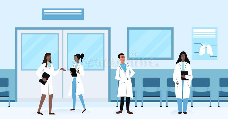Diverse health doctors practitioners talking and standing in hallway while working in hospital vector illustration. royalty free illustration