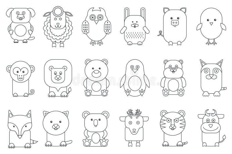 Diverse illustration adorable de vecteur d'ensemble de mammifères et d'oiseaux d'animaux de bande dessinée d'ensemble noir illustration de vecteur