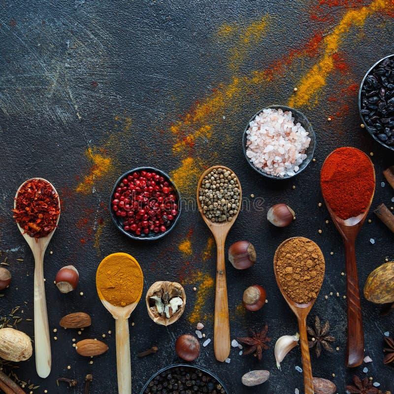 Diverse Indische kruiden, noten en kruiden in houten lepels en metaalkommen royalty-vrije stock foto