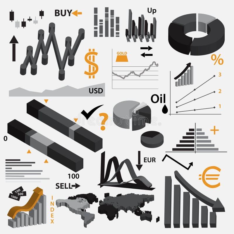 Diverse infographics 3d grafieken voor uw zaken of effectenbeurs eps10 stock illustratie