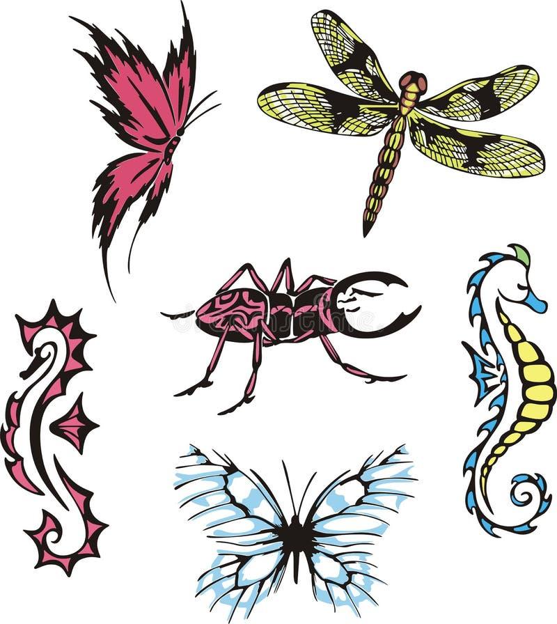 Diverse insecten en zeepaardjes stock illustratie