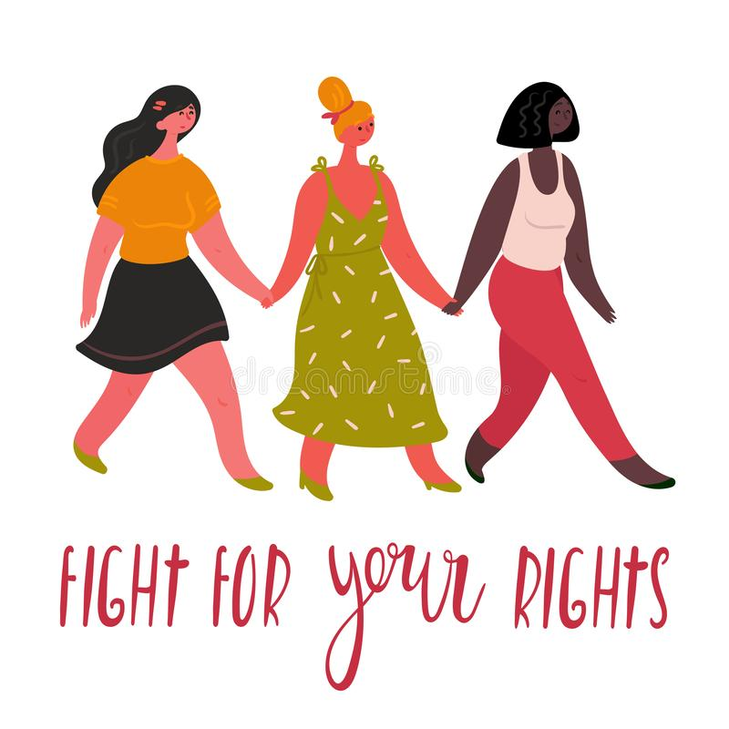 Diverse internation multi-ethnic women group royalty free illustration