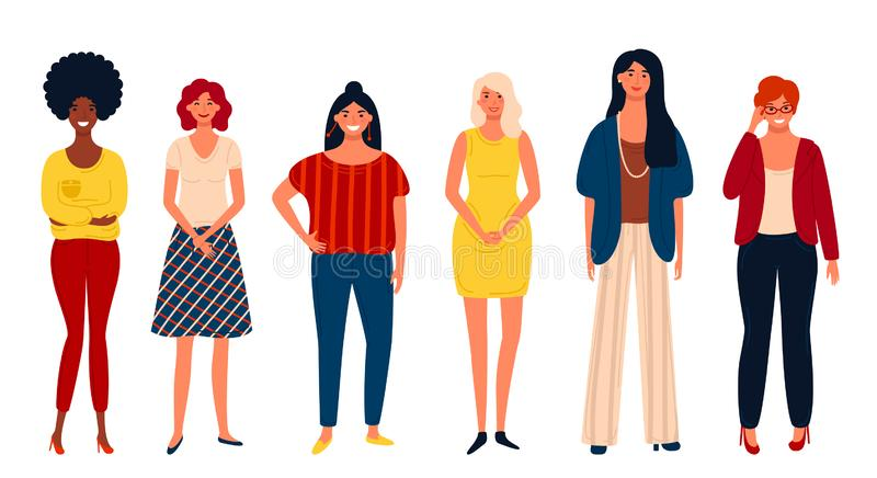Diverse international group of standing happy women or girls. Flat cartoon characters isolated on white background. royalty free illustration