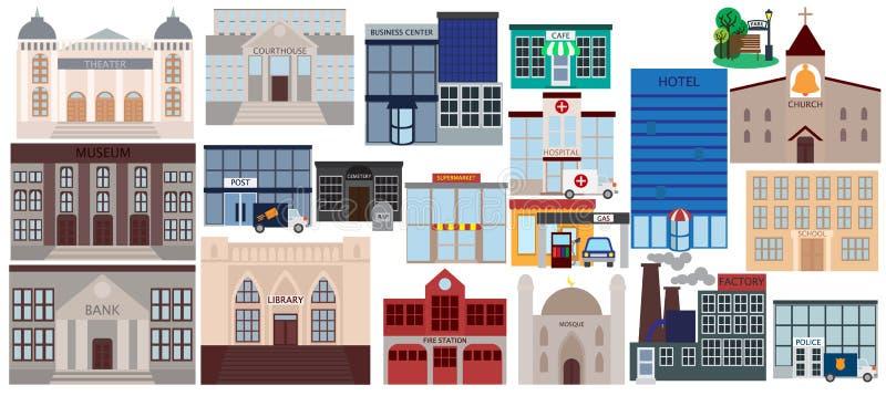 Diverse inzameling van openbare gebouwenelementen, vlakke geplaatste pictogrammen stock illustratie