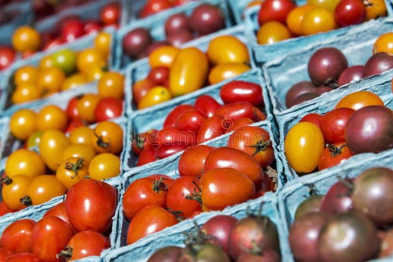 Diverse kers en druiventomaten bij de markt van een landbouwer stock fotografie