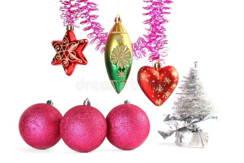 Diverse Kerstmis-boom decoratie en klatergoud royalty-vrije stock afbeeldingen