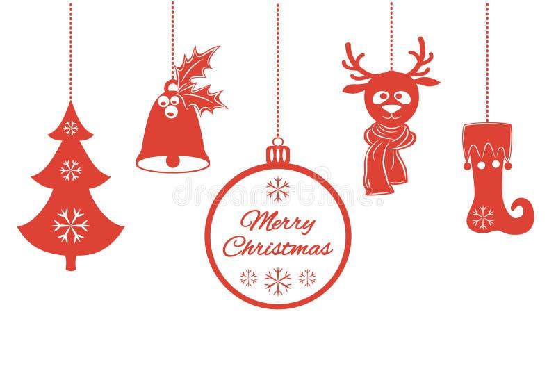 Diverse Kerstmistegenhangers zoals een klok met hulst, bal, spar met sneeuwvlokken, een hert in sjaal, opslag Universele grens, vector illustratie