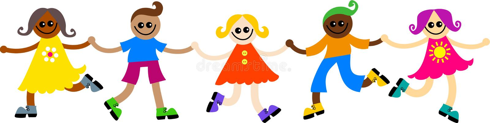 Diverse kids. Group of happy and diverse children holding hands vector illustration
