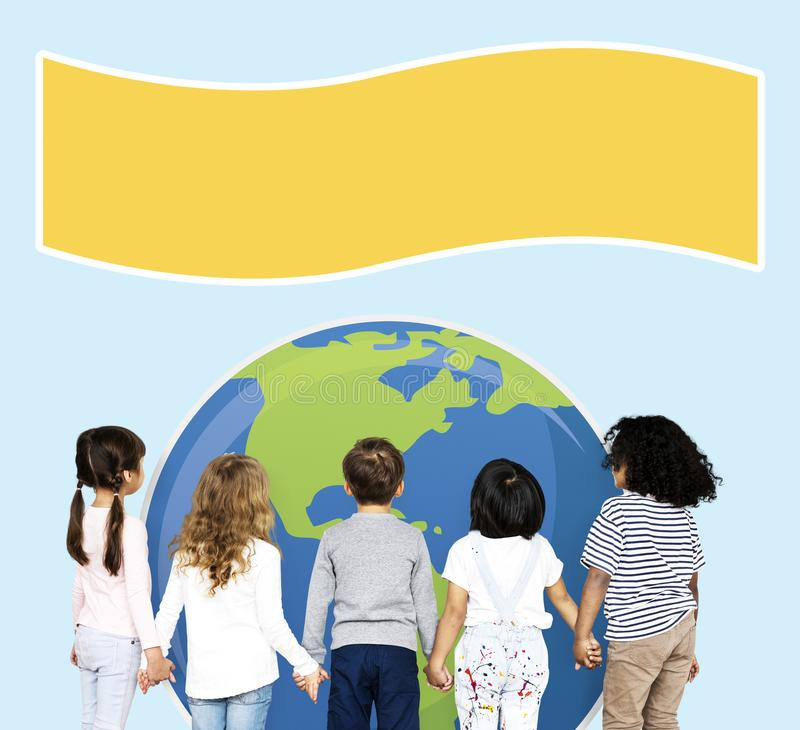 Diverse kids protecting the world for an environment awareness campaign royalty free stock images
