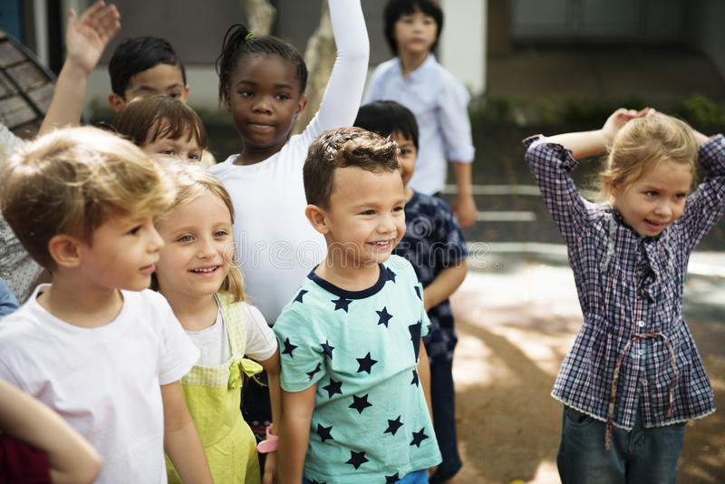 Diverse kids standing together royalty free stock image