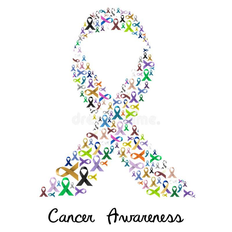 Diverse kleur van de kankervoorlichting en glanzende linten voor hulp zoals een groot kleurrijk lint eps10 royalty-vrije illustratie