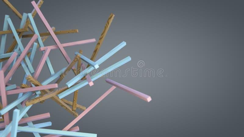 Diverse kleurrijke stokken die in lege ruimte drijven vector illustratie