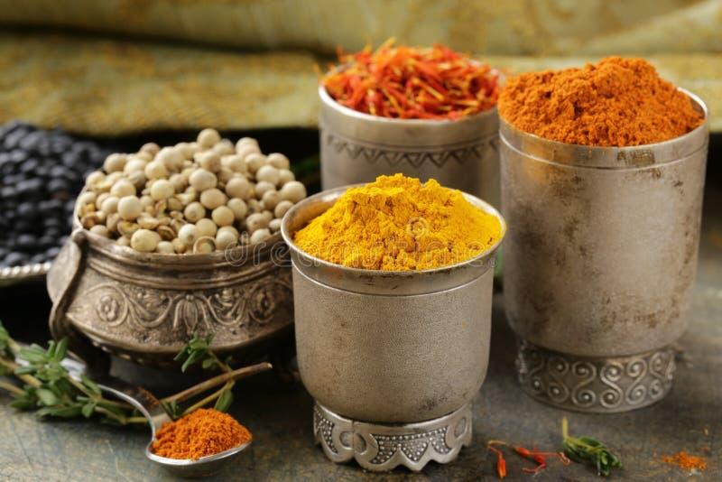 Diverse kruiden (kurkuma, paprika, saffraan, koriander) royalty-vrije stock foto