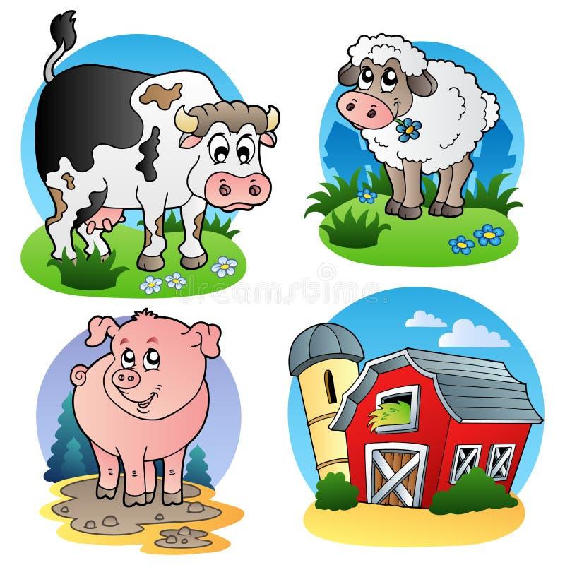 Diverse landbouwbedrijfdieren 1 royalty-vrije illustratie
