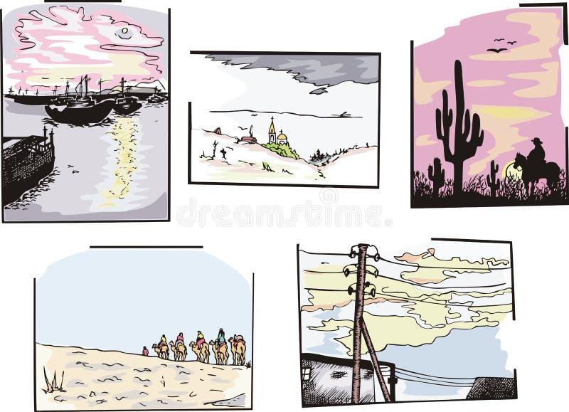 Diverse landschappen vector illustratie