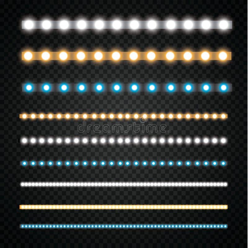 Diverse LEIDENE strepen op een zwarte en transparante achtergrond, gloeiende LEIDENE slingers vector illustratie