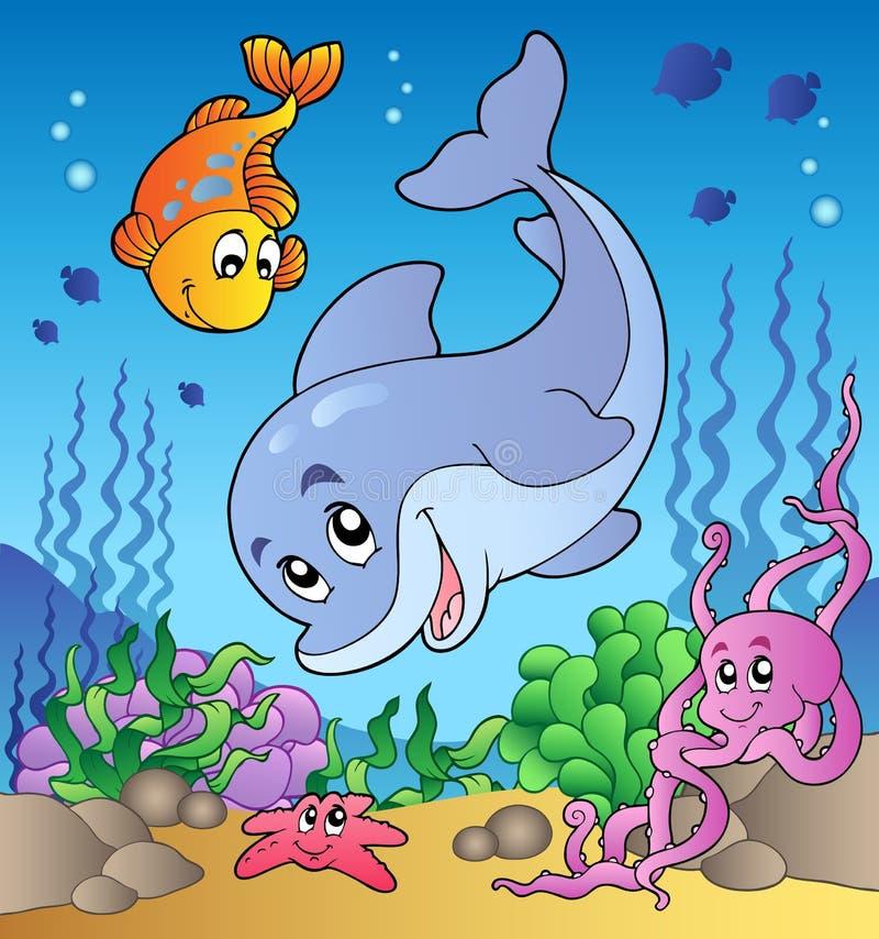 Diverse leuke dieren op zee bodem stock illustratie