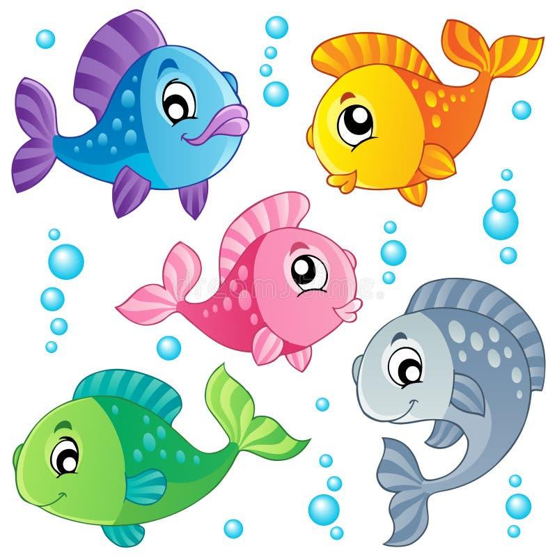 Diverse leuke visseninzameling 3 vector illustratie