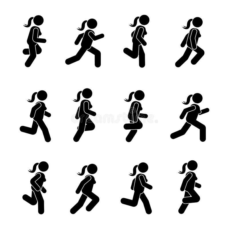 Diverse lopende positie van vrouwenmensen Het cijfer van de houdingsstok Vectorillustratie van het stellende pictogram van het he stock illustratie