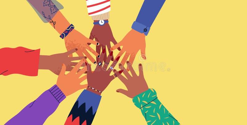 Diverse mani dei giovani su fondo isolato royalty illustrazione gratis
