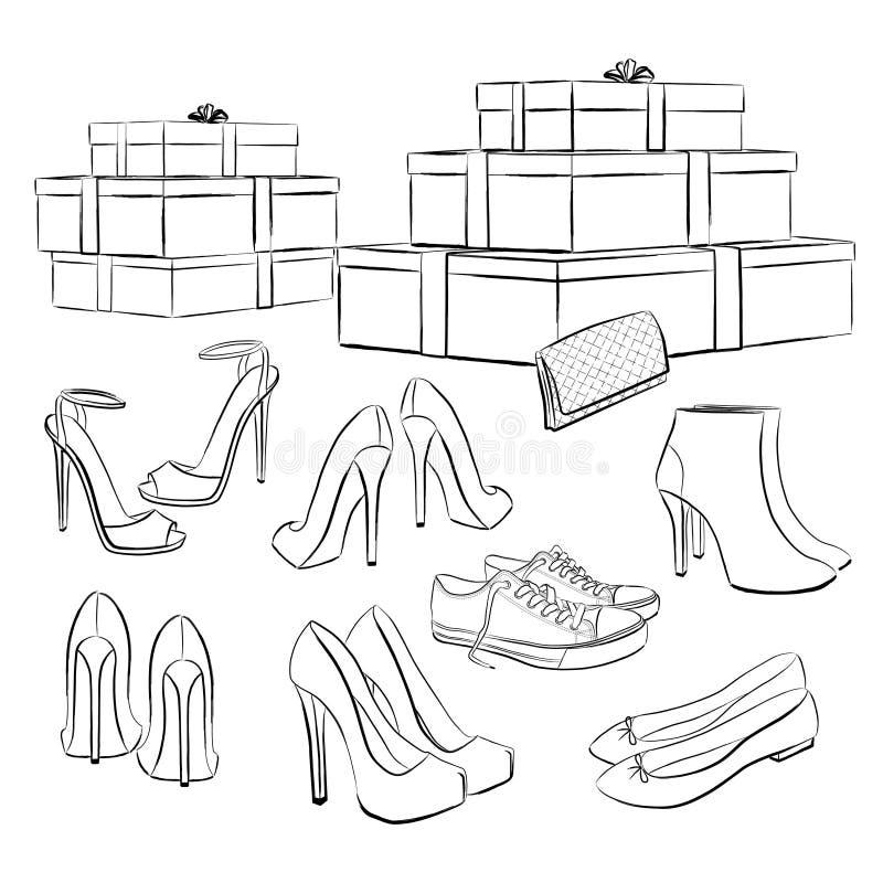 Diverse manierschoenen en dozen vector illustratie