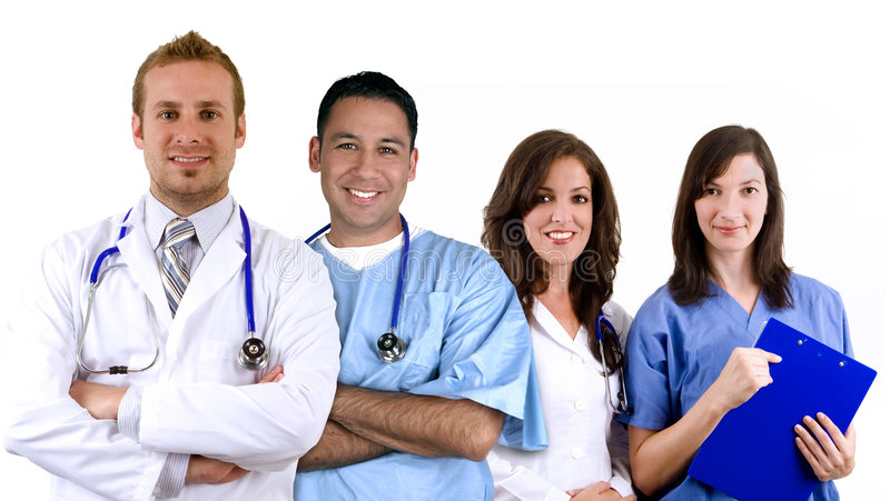 Diverse medical team. Isolated on white