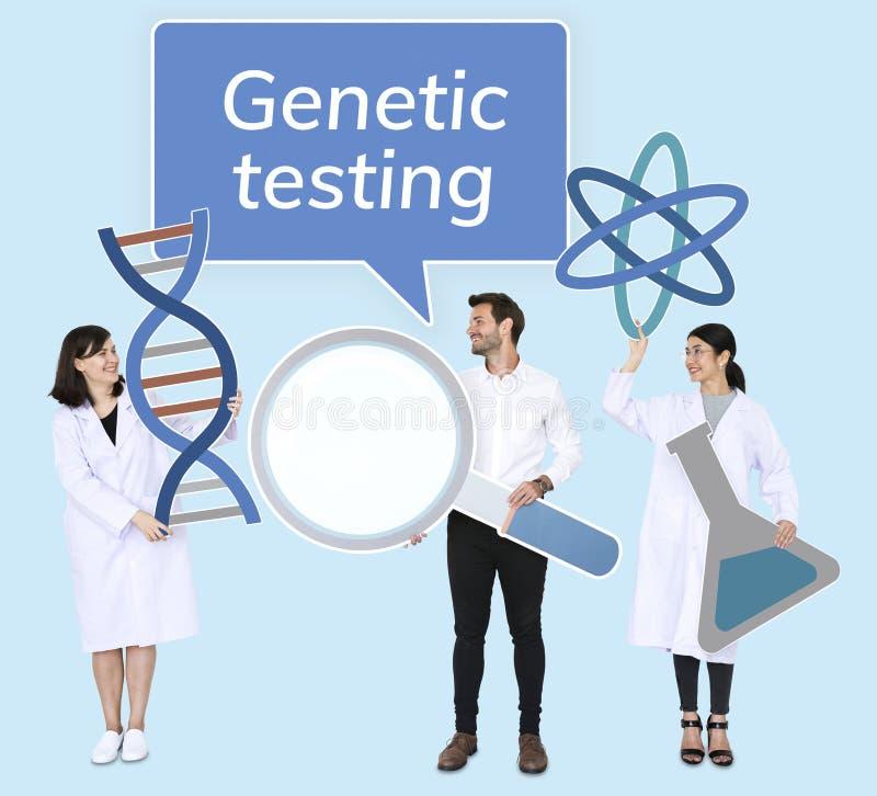 Diverse mensen die genetische het testen pictogrammen houden royalty-vrije stock afbeeldingen