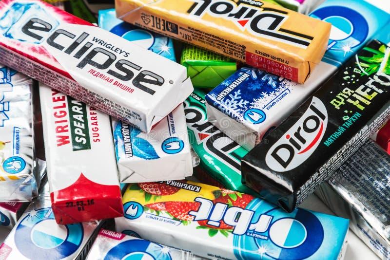 Diverse merk kauwgom kauwgommerken royalty-vrije stock afbeeldingen