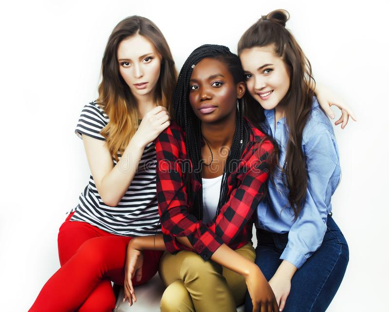 Diverse multi nation girls group, teenage friends company cheerful having fun, happy smiling, cute posing  on stock images