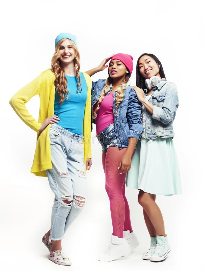 Diverse multi nation girls group, teenage friends company cheerful having fun, happy smiling, cute posing  on royalty free stock images