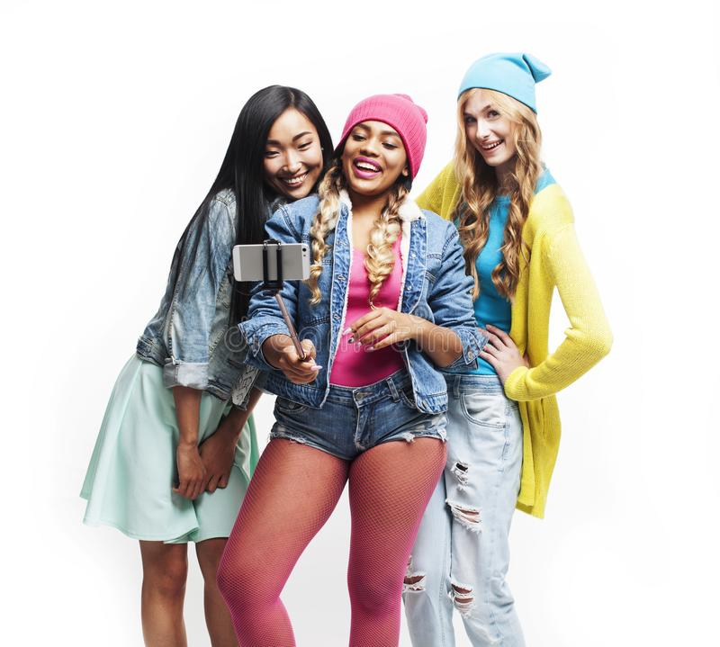 Diverse multi nation girls group, teenage friends company cheerful having fun, happy smiling, cute posing isolated on royalty free stock images