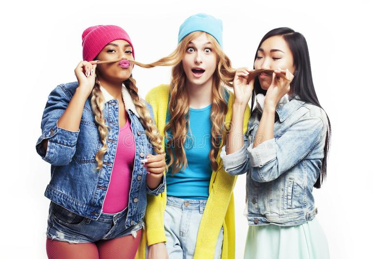 Diverse multi nation girls group, teenage friends company cheerful having fun, happy smiling, cute posing isolated on royalty free stock photos