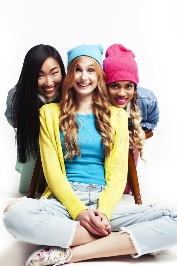 Diverse multi nation girls group, teenage friends company cheerful having fun, happy smiling, cute posing isolated on stock photos