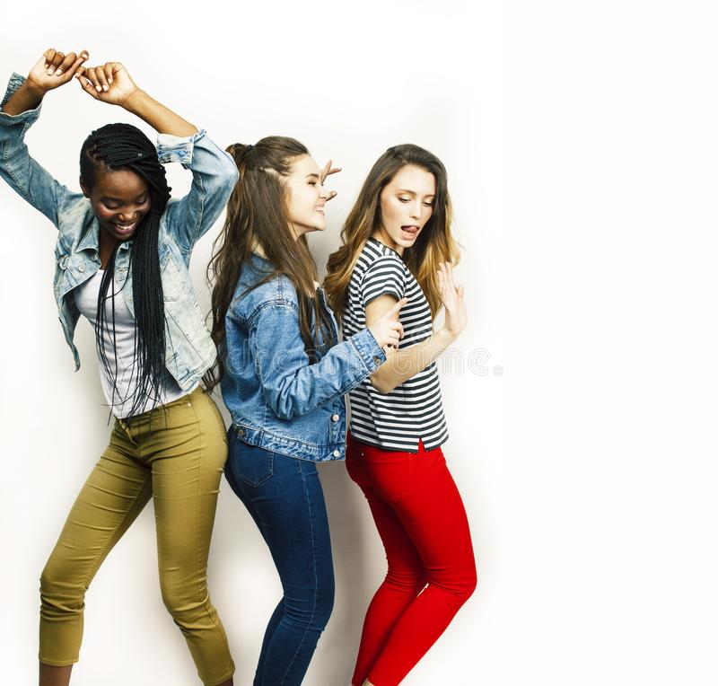 Diverse multi nation girls group, teenage friends company cheerful having fun, happy smiling, cute posing isolated on royalty free stock photo