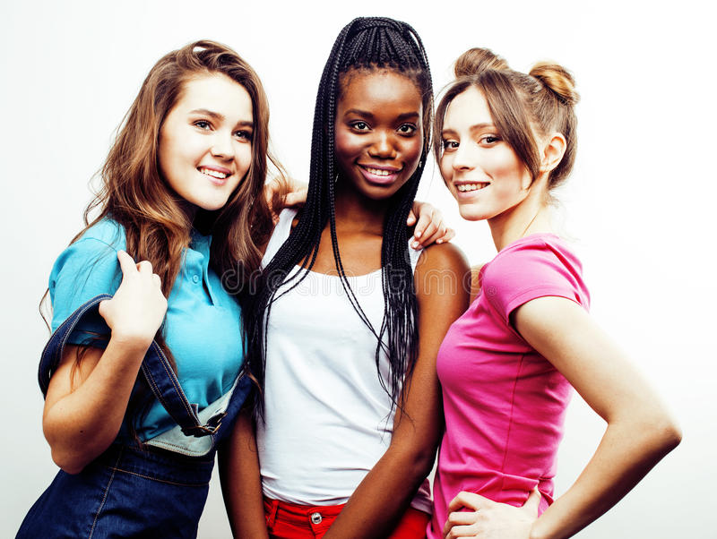 Diverse multi nation girls group, teenage friends company cheerful having fun, happy smiling, cute posing isolated on royalty free stock photography