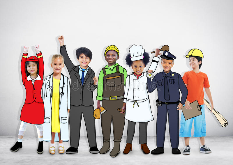 Diverse Multiethnic Children with Different Jobs stock photos