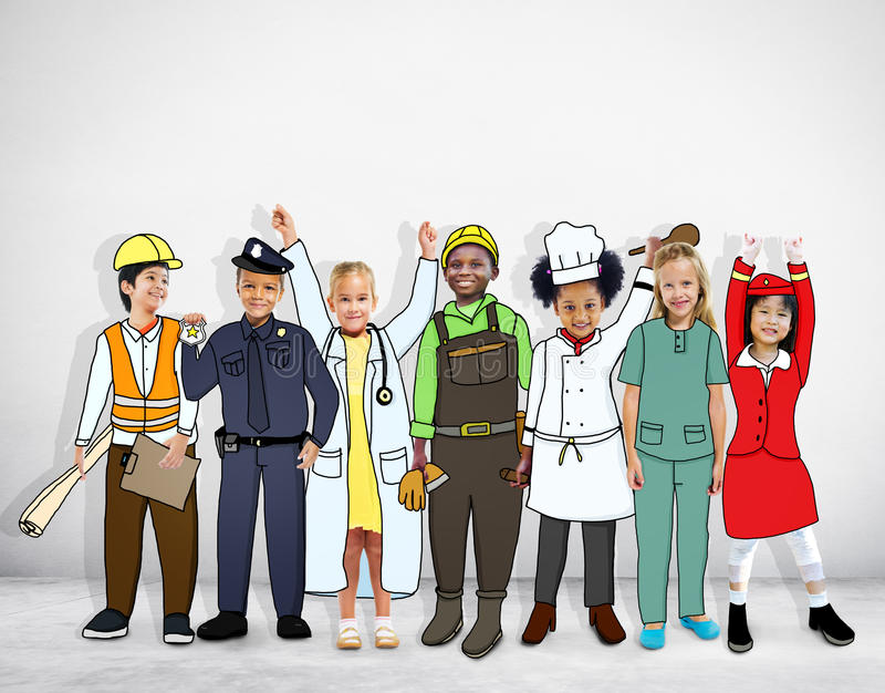 Diverse Multiethnic Children with Different Jobs royalty free stock photos