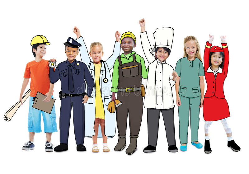 Diverse Multiethnic Children with Different Jobs royalty free illustration