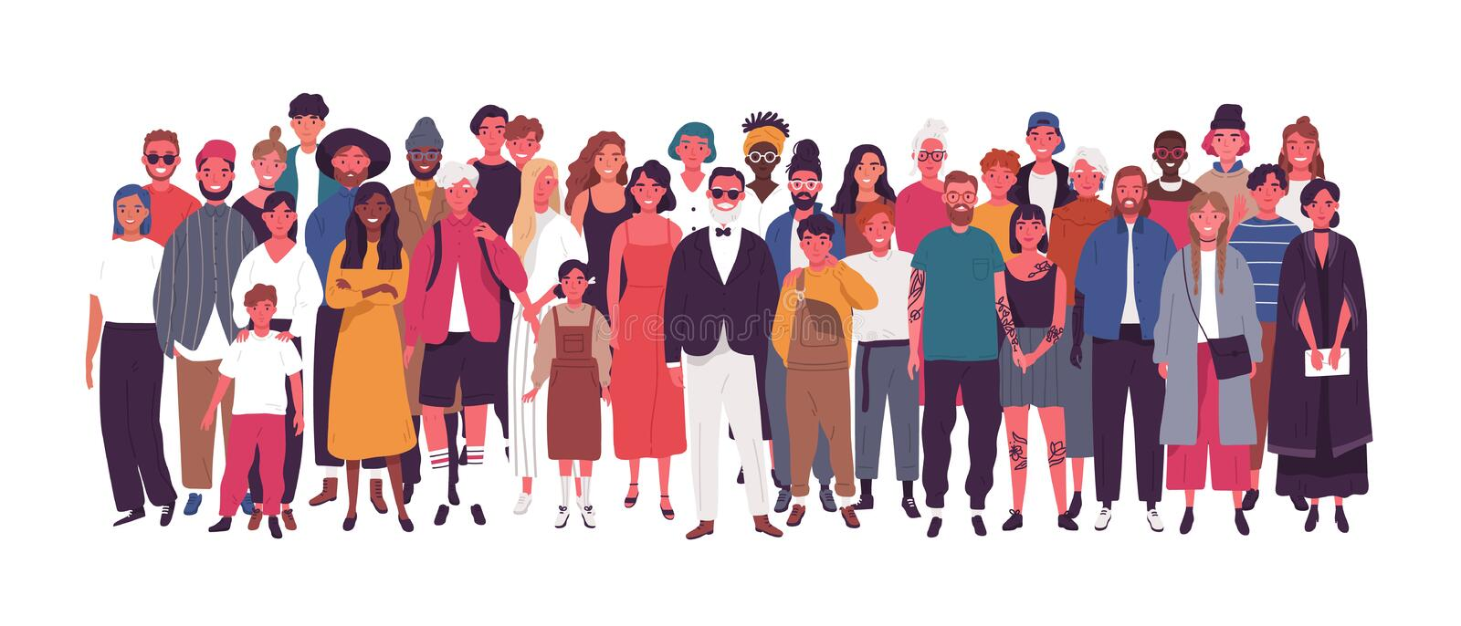 Diverse multiethnic or multinational group of people isolated on white background. Elderly and young men, women and kids. Standing together. Society or vector illustration