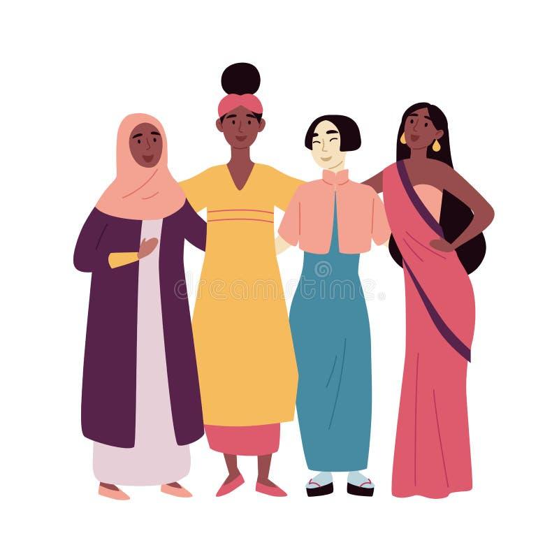 Diverse multiraciale en multiculturele groep mensen Sociale diversiteit, vriendschap Afrikaans, Aziatisch, moslim, Indisch vector illustratie