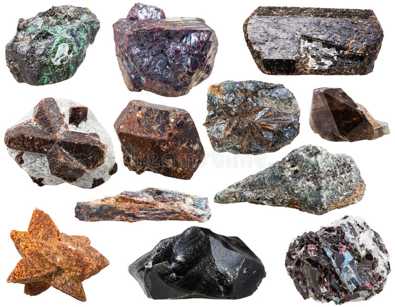 Diverse natuurlijke geïsoleerde rotsen en stenen stock afbeelding