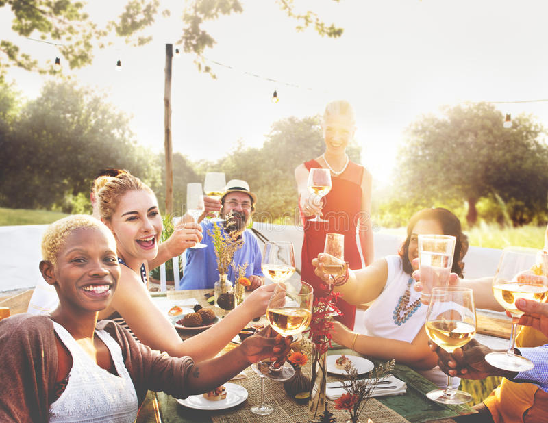 Diverse Neighbors Drinking Party Yard Concept.  royalty free stock images