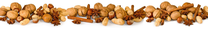 Diverse noten en kruiden stock foto's