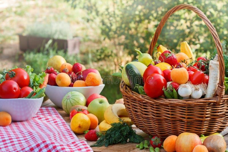 Diverse organische vruchten en groenten stock afbeeldingen