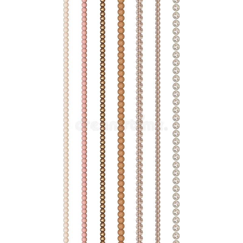 Diverse parels op een witte achtergrond Parel, glas, acrylparels De parels worden verticaal rechtstreeks geschikt Bijouterie wijn stock illustratie