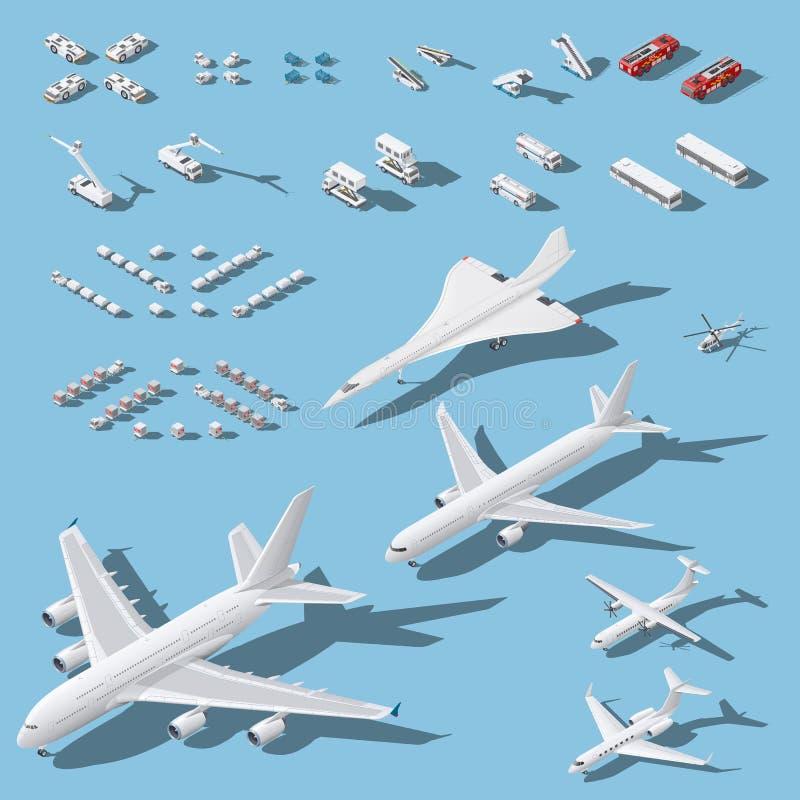 Diverse passagiersvliegtuigen en onderhoudsmateriaal voor geplaatste luchthaven isometrische pictogrammen royalty-vrije illustratie