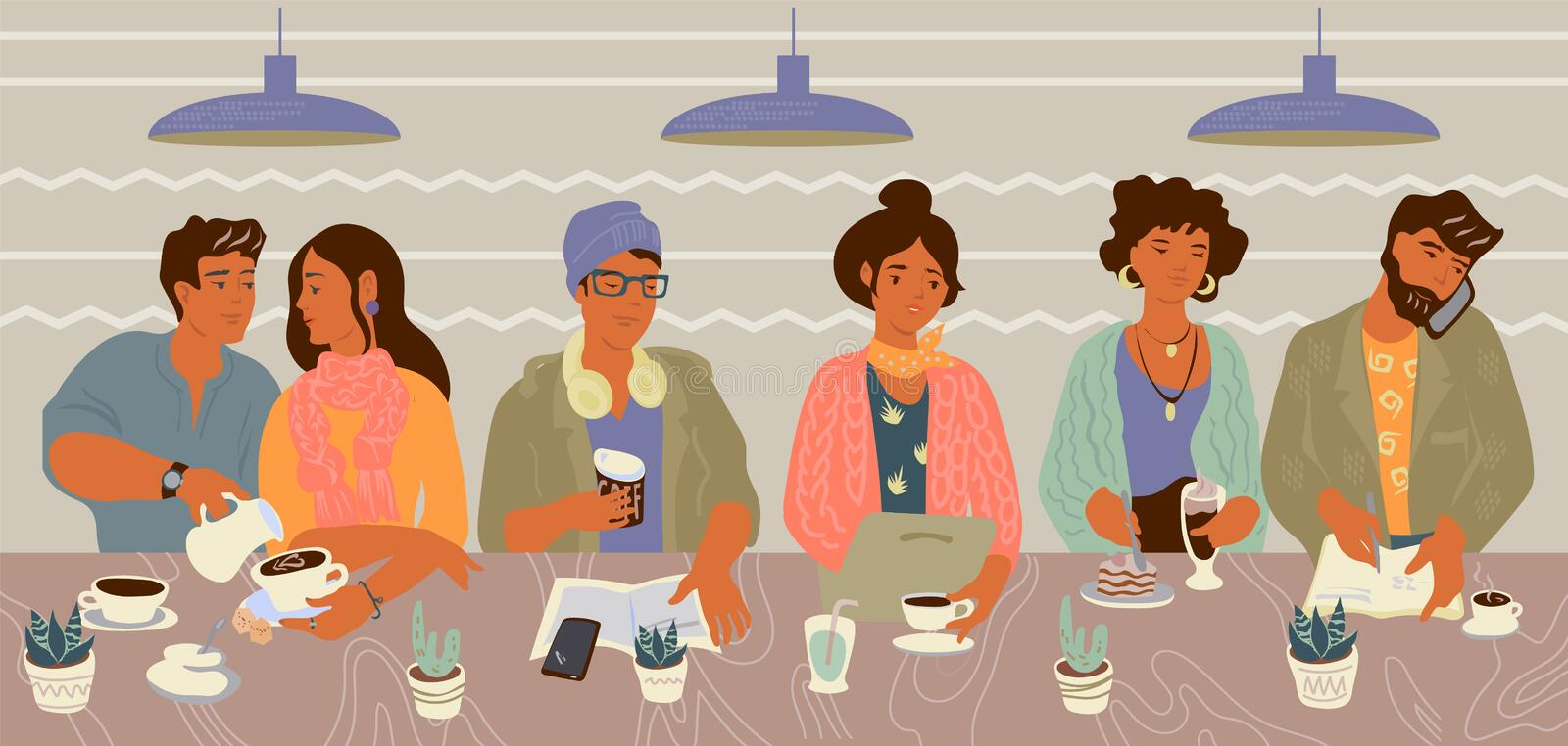 Diverse people in cafe - couple and friends flat trendy vector illustration. vector illustration
