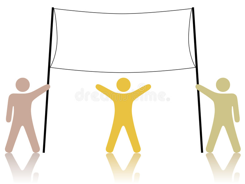 Diverse People Celebrate and Hold Up Banner vector illustration