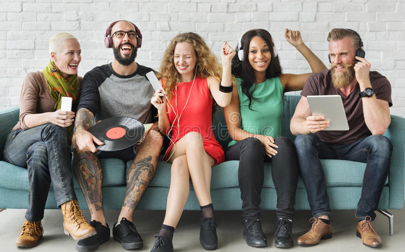 Diverse People Community Togetherness Technology Music Concept stock photography